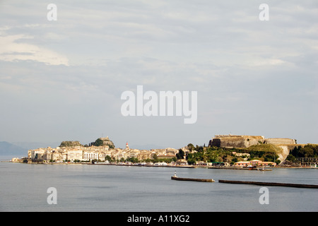 Kerkyra Old and New Forts viewed from the harbour,  Kerkyra Corfu old new fort town viewed from harbour harbor Old New Fortress - Stock Image