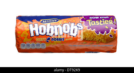 A cut out shot of a packet of Mcvities Hobnobs - Stock Image