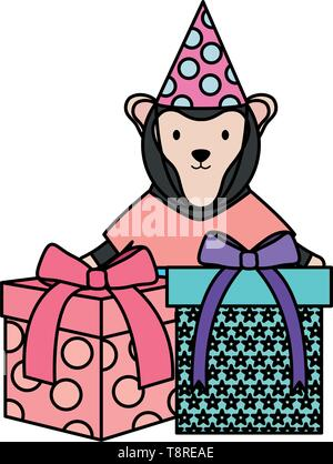 cute monkey with gifts in birthday party vector illustration design - Stock Image