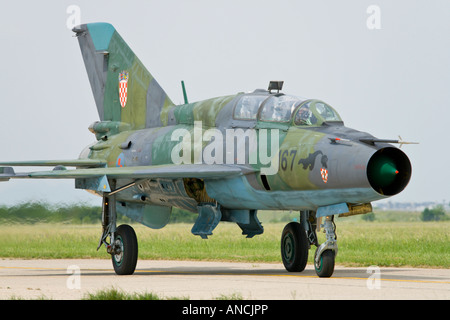 Croatian Air Force MiG-21 UMD '167' trainer, Pleso AFB during 'open day' visit in 2007 - Stock Image