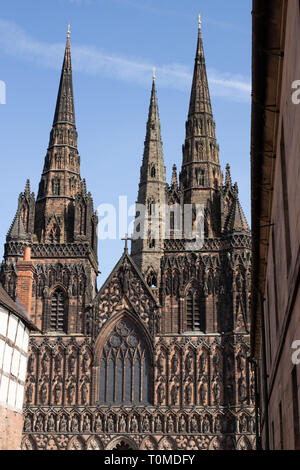 The front aspect of Lichfield Cathedral - Stock Image