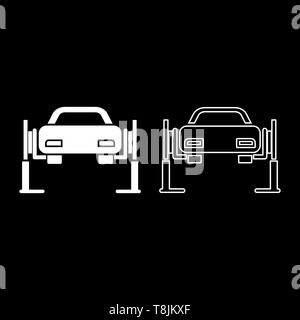 Car lift Car repair Service concept Car on fix lift Car lifted on auto lift icon outline set white color vector illustration flat style simple image - Stock Image