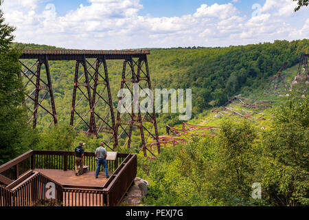 KANE, PA, USA-9 AUGUST 18: Kinzua Bridge, destroyed by a tornado in 2003. - Stock Image