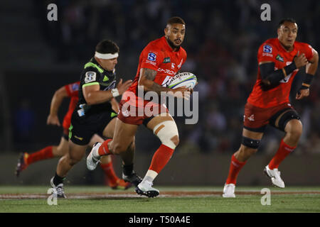 Tokyo, Japan. 19th Apr, 2019. Rahboni Warren Vosayaco (Sunwolves) Rugby : 2019 Super Rugby match between Sunwolves 23-29 Hurricanes at Prince Chichibu Memorial Stadium in Tokyo, Japan . Credit: YUTAKA/AFLO SPORT/Alamy Live News - Stock Image