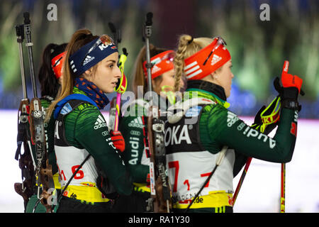 L-R: Vanesa Voigt, Franziska Pfnür. The German Team Challenge takes place during the JOKA Biathlon WTC auf Schalke featuring young German biathlethes. - Stock Image