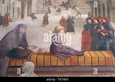 Resurrection of the Boy, detail, Frescoes on the Life of St Francis, by Domenico Ghirlandaio, 1483-1485, Capella Sassetti, Sassetti Chapel, Chiesa di  - Stock Image