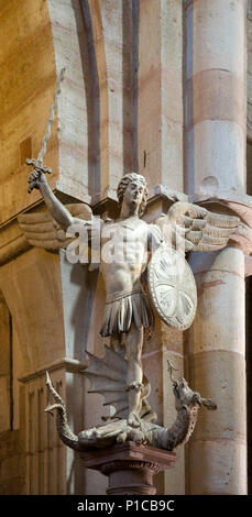 Statue of Saint George and the Dragon in Cathedral of Notre Dame Beaune Burgundy France - Stock Image