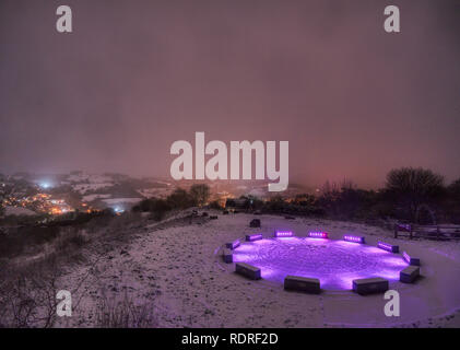 Wirksworth stardisc, Derbyshire Dales, Peak District. 18th Jan 2019. UK Weather: 1' of snow falls at the Wirksworth stardisc,  Derbyshire Dales, Peak District. HDR image taken with a clear night filter Credit: Doug Blane/Alamy Live News - Stock Image