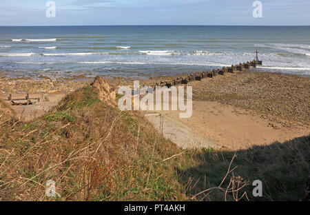 A view of the beach and sea from the cliff top on the North Norfolk coast at West Runton, Norfolk, England, United Kingdom, Europe. - Stock Image