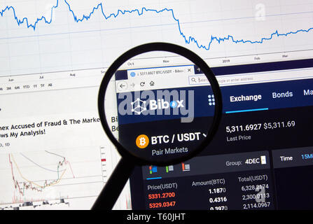 MONTREAL, CANADA - APRIL 26, 2019: Bibox cryptocurrency digital assets exchange logo and home page on a laptop screen under magnifying glass. - Stock Image