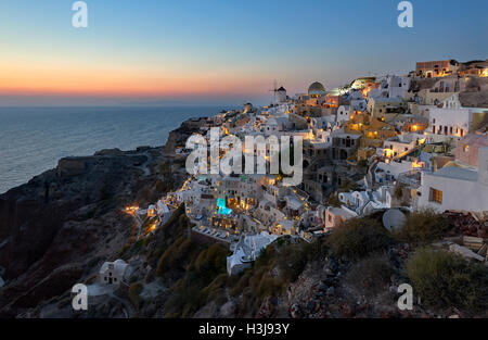 Oia village at night , Santorini - Stock Image