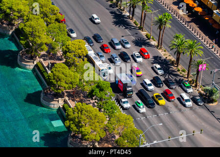 Las Vegas Boulevard aka The Strip from above in front of the Bellagio Hotel fountain area and traffic - Stock Image
