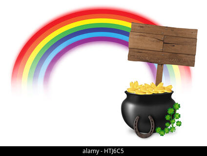 illustration of pot of gold at end of rainbow, with wooden sign, horseshoe and lucky clover, isolated on white background, - Stock Image