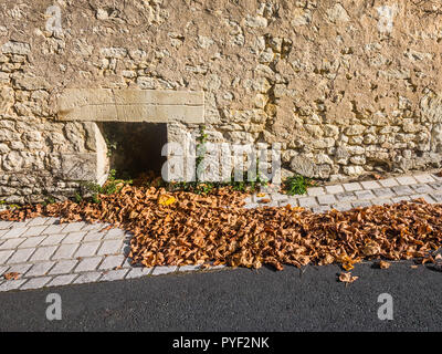 Pile of Autumn leaves blown against wall - France. - Stock Image