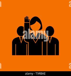 Voting Lady With Men Behind Icon. Black on Orange Background. Vector Illustration. - Stock Image