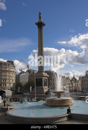 Nelson's Column and Fountains, Trafalgar Square, London - Stock Image