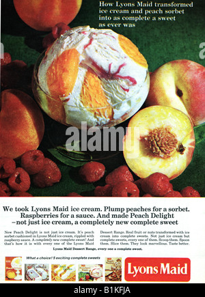 1965 Magazine Advertisement for Lyons Maid Ice Cream Desserts FOR EDITORIAL USE ONLY - Stock Image