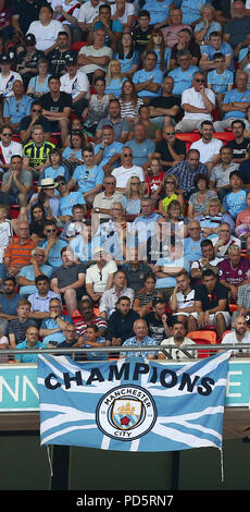 Manchester City fans during the FA Community Shield match between Chelsea and Manchester City at Wembley Stadium in London. 05 Aug 2018 - Stock Image
