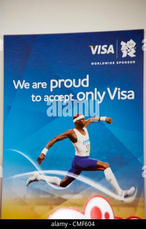 Visa sponsorship partner branding at Olympic Park, London 2012 Olympic Games site, Stratford London E20 UK, - Stock Image