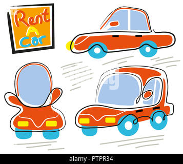 Rent a car.  illustration of rent a car.Three diffrent pose. - Stock Image