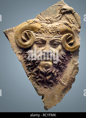 6426. Jupiter Ammon God of god of the sky and thunder and king of the gods in Ancient Roman religion. Terracotta cast, 1st. C. BC. - Stock Image