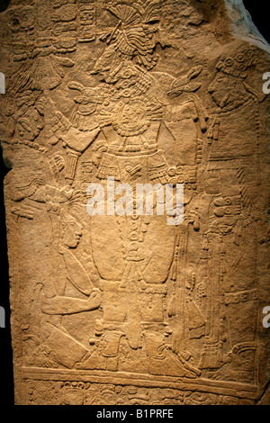Mayan Stela Relief in the National Museum of Anthropology Chapultepec Park Mexico City Mexico - Stock Image