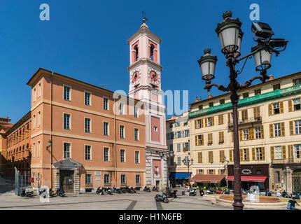 Clocktower on Place du Palais de Justice, Vieille Ville (Old Town), Nice, Alpes-Maritimes, Provence-Alpes-Côte - Stock Image