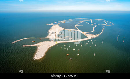 First Dutch artificial island for nature: Marker Wadden from the sky - Stock Image