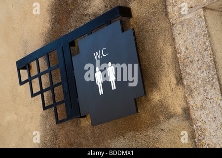 WC sign in the Museum and shops area inside the Palmela Castle. Palmela, Setubal District, Portugal. - Stock Image