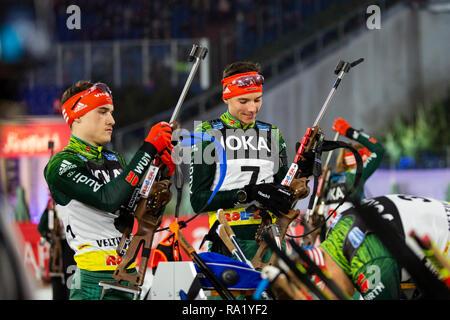 L-R: Danilo Rithemüller, Philipp Lipowitz. The German Team Challenge takes place during the JOKA Biathlon WTC auf Schalke featuring young German biathlethes. - Stock Image