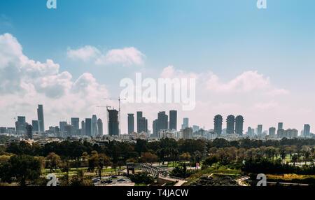 Panoramic view of Downtown Tel-Aviv, Israel skyline. - Stock Image