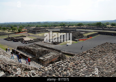 View from the Pyramid of the Sun over the Adjacent Plaza, Teotihuacan, Mexico - Stock Image