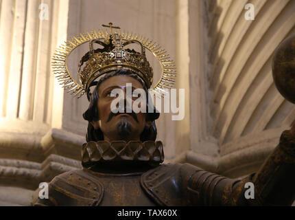 Sculpture of King Ferdinand III of Castile or Saint Ferdinand, 1671. Sculptor: Pedro Roldan. Detail. Catedral. Seville. Spain. - Stock Image