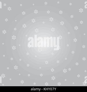 Silver winter abstract background. Christmas background with snowflakes. Vector. - Stock Image