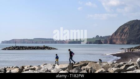Sidmouth, UK. 24th Mar, 2019. Families playing on the rock groynes atSidmouth. Credit: Photo Central/Alamy Live News - Stock Image