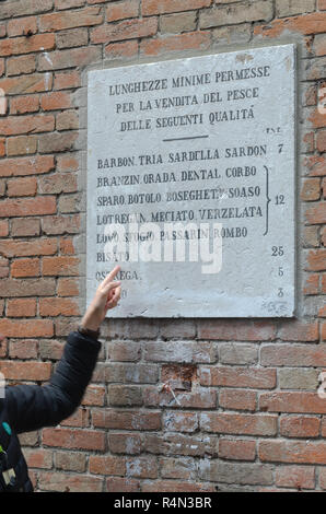 Prices on plaque in mercato di Rialto - Stock Image