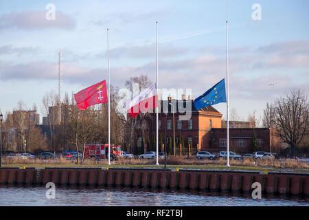 Flags of the city of Gdansk, Poland and the European Union half mast after assassination of the Mayor of the city Pawel Adamowicz - Stock Image