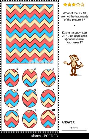 IQ training abstract visual puzzle: What of the 2 - 10 are not the fragments of the picture 1? Answer included. - Stock Image