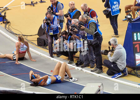 Glasgow, UK. 1st Mar, 2019. Katarina Johnson-Thompson win gold in the pentathlon on European Athletics Indoor Championships 2019. Credit: Pawel Pietraszewski/Alamy Live News - Stock Image
