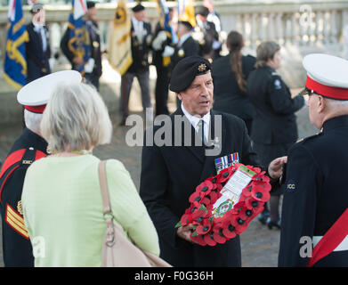 Portsmouth, UK. 15th Aug, 2015. Veterans discuss the wreath laying ahead of the VJ Day 70th anniversary memorial - Stock Image