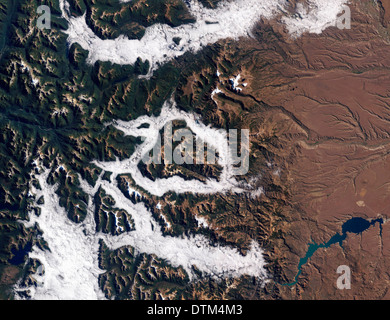 Fog in Argentina's Lake District as seen from NASA's Thematic Mapper on the Landsat 5 satellite - Stock Image