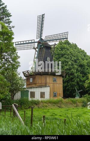 Dellstedter Bauernwindmuehle, historical windmill at Dellstedt, Galeriehollaender, Dellstedt, Dithmarschen, Schleswig-Holstein, Germany - Stock Image