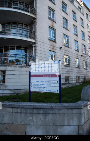 Sign outside the Leeds General Infirmary teaching hospital on Calverley Street in Leeds, West Yorkshire U.K. - Stock Image