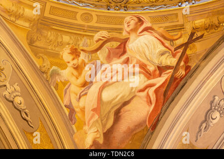 COMO, ITALY - MAY 8, 2015: The fresco of cardinal virtue of Faith in church Santuario del Santissimo Crocifisso by Carlo Inncenzo Carloni. - Stock Image