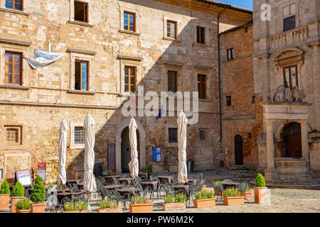 Architecture in the hilltop medieval town of Montepulciano in Tuscany,Italy - Stock Image