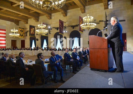 U.S. Secretary of State Rex Tillerson delivers remarks at the U.S. Chamber of Commerce's U.S.-Saudi CEO Summit, - Stock Image