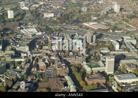Aerial photograph of the centre of Coventry featuring the remains of the old Cathedral next to the new St Michael's - Stock Image