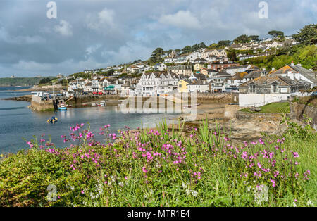 View over the scenic coastline of the fishing village St.Mawes at the Cornish Coast near Falmouth, Cornwall, England, UK | Aussicht ueber die malerisc - Stock Image