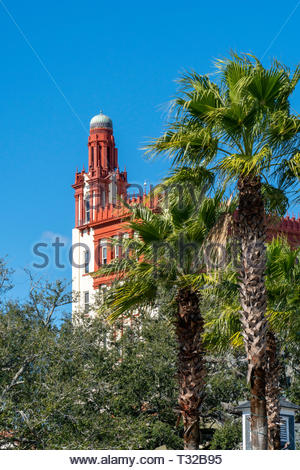 The Treasury Building in downtown St Augustine, Florida, USA as viewed from the Plaza de la Constitucion - Stock Image