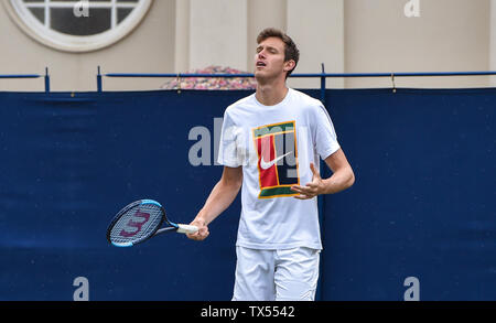 Eastbourne UK 24th June 2019 -  Cameron Norrie of Great Britain practices on an outside court at the Nature Valley International tennis tournament held at Devonshire Park in Eastbourne . Credit : Simon Dack / TPI / Alamy Live News - Stock Image
